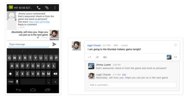 Google+ agora permite envio e recebimento de mensagens via SMS para 41 países (Foto: Reprodução)