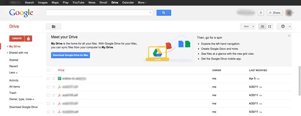 Página principal do Google Drive (Foto: Reprodução / Pedro Pisa)