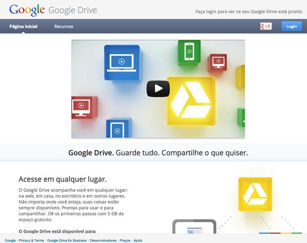 Página inicial do Google Drive (Foto: Reprodução / Pedro Pisa)