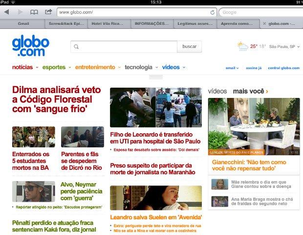 Novo visual da Globo.com no iPad (Foto: Reprodução/Bruno do Amaral)