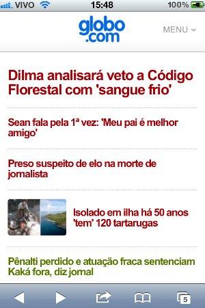 Formato da página para smartphones (Foto: Reprodução/Bruno do Amaral)