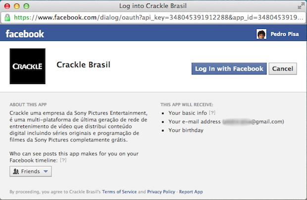 Autorização do envio de informações do Facebook para o Crackle (Foto: Reprodução / Pedro Pisa)