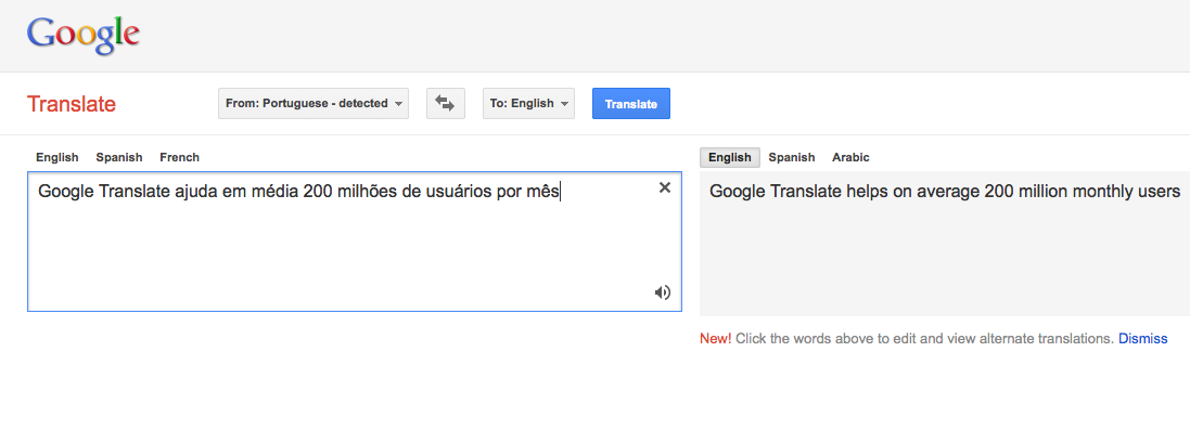 Google Translate é utilizado por 200 milhões de pessoas por mês (Foto: Reprodução)