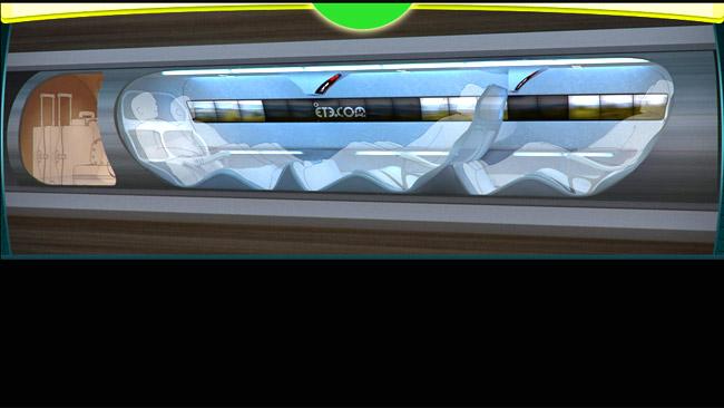 Imagem conceitual de como seriam as acomodações do tubo super rápido (Foto: Divulgação) (Foto: Imagem conceitual de como seriam as acomodações do tubo super rápido (Foto: Divulgação))