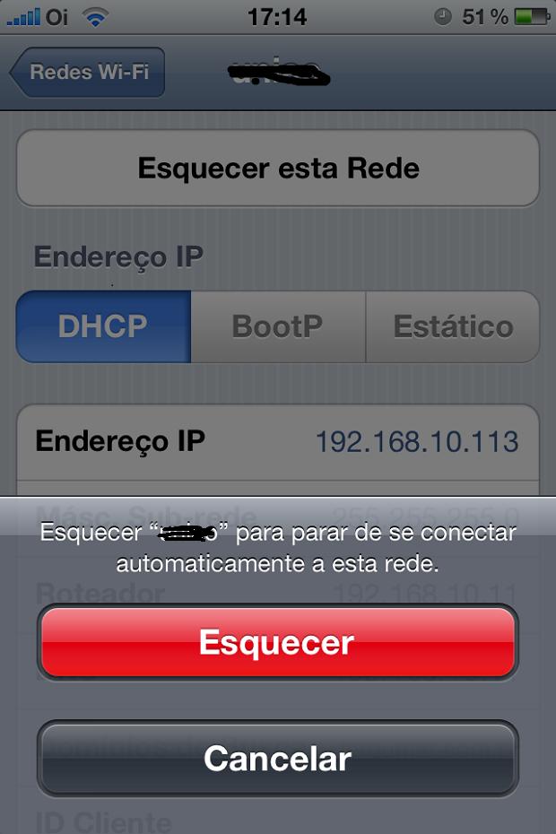 Fazendo o iPhone esquecer um rede (Foto: Reprodução/Edivaldo Brito)