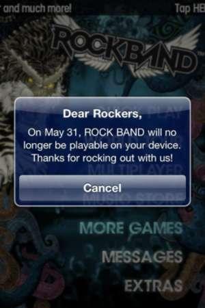 Mensagem de encerramento do jogo na App Store, enviada por engano (Foto: Cnet)