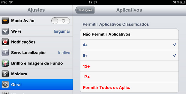 Bloqueando o acesso a aplicativos por faixa de idade (Foto: Reprodução/Edivaldo Brito)