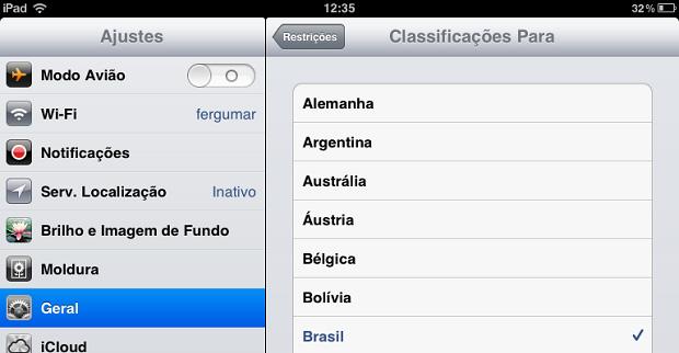 Escolhendo a classificação do conteúdo por país (Foto: Reprodução/Edivaldo Brito)