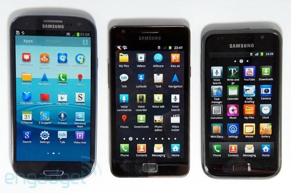 Samsung Galaxy S III, S II e S, lado a lado (Foto: Reprodução/Engadget)
