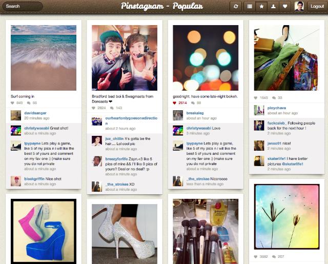 Pinstagram une conceitos de Pinterest e Instagram (Foto: Reprodução)