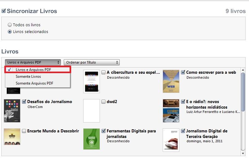 """Mude para """"Livros e arquivos PDF"""" para facilitar a busca (Foto: Reprodução/Guilherme Godin)"""