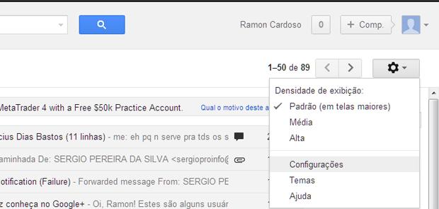 Acessando as configurações do Gmail