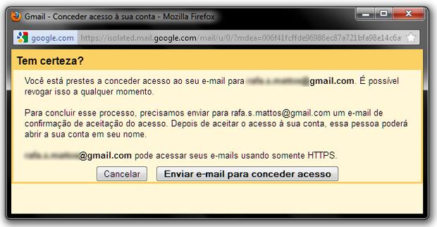 Enviar e-mail para conceder acesso a uma conta Gmail