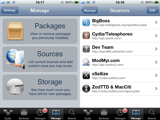 Entrando na tela de repositórios de pacotes do Cydia (Foto: Reprodução/Edivaldo Brito)