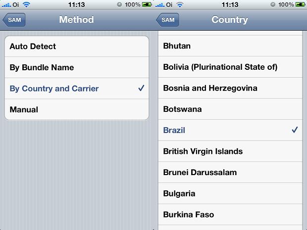 Escolhendo o método, país e operadora para desbloqueio (Foto: Reprodução/Edivaldo Brito)
