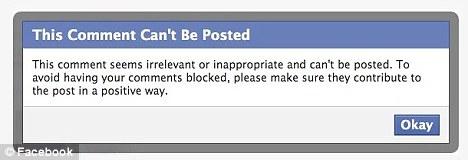 Mensagem de erro do Facebook