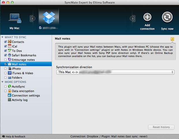 Configurações de backup das notas do Mail para o Dropbox (Foto: Reprodução/Pedro Pisa)