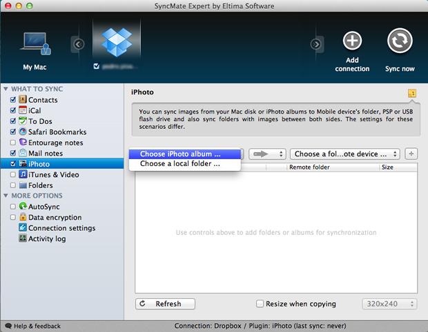 Configurações de backup de fotos através do iPhoto ou de uma pasta para o Dropbox (Foto: Reprodução/Pedro Pisa)