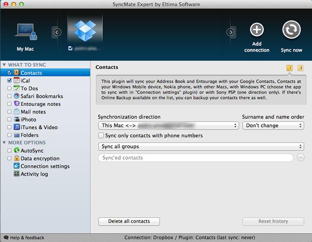 Configurações de backup dos contatos para o Dropbox (Foto: Reprodução/Pedro Pisa)