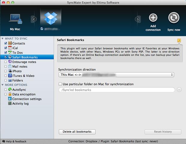 Configurações de backup dos favoritos do Safari para o Dropbox (Foto: Reprodução/Pedro Pisa)
