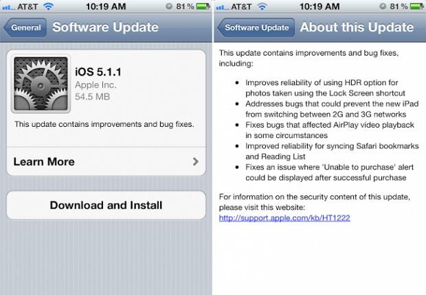 Atualização do iOS para a versão 5.1.1 (Foto: Reprodução/9to5mac)