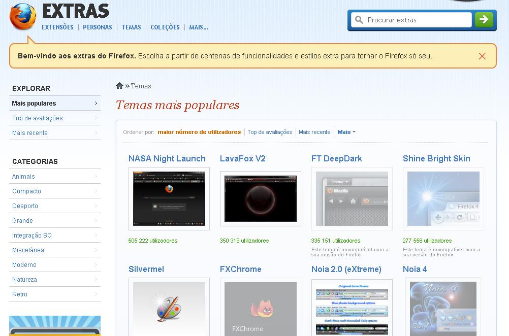 Site com os temas mais populares do Mozilla Firefox (Foto: Reprodução)