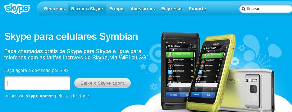 Digite o número do seu celular e clique em 'Baixe o Skype agora' (Foto: Reprodução)