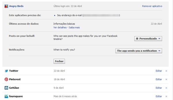 Gerenciando privacidade de jogos e aplicativos do Facebook (Foto: Aline Jesus/Reprodução)