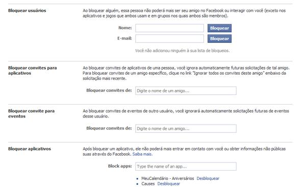 Gerenciando pessoas e aplicativos bloqueados no Facebook (Foto: Aline Jesus/Reprodução)