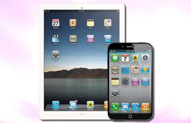 Rumores apontam um iPad menor e um iPhone maior, possivelmente ainda para 2012 (Foto: Arte)