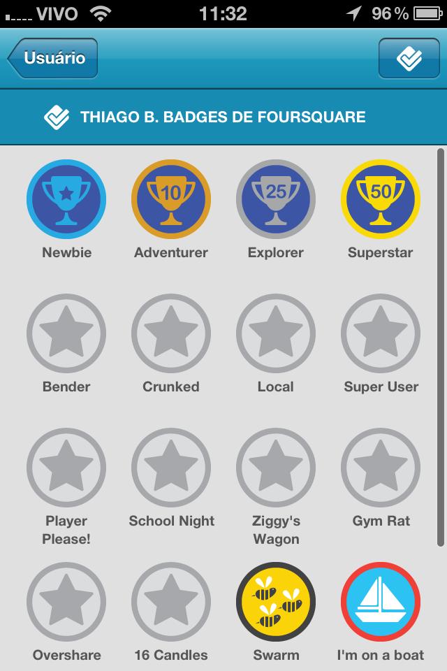 Estas são as insígnias que você ganha a cada check in no Foursquare (Foto: Reprodução)