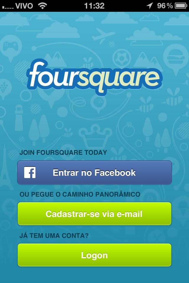 Fazer o login no Foursquare é muito fácil (Foto: Reprodução)