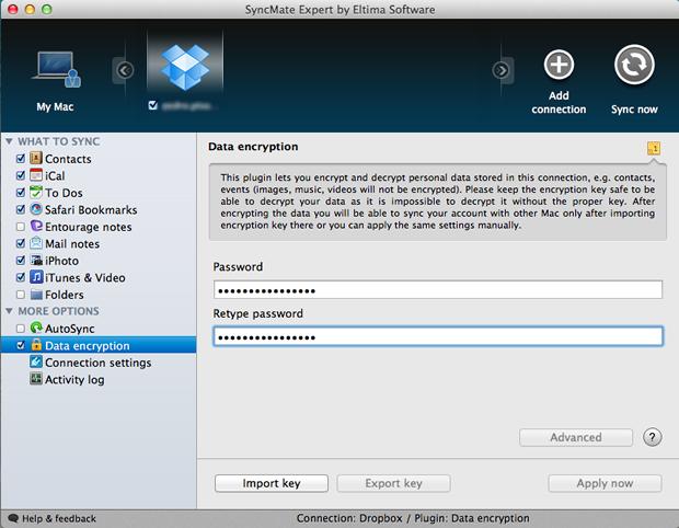 Definição de senha para encriptação dos dados salvos no Dropbox (Foto: Reprodução/Pedro Pisa)