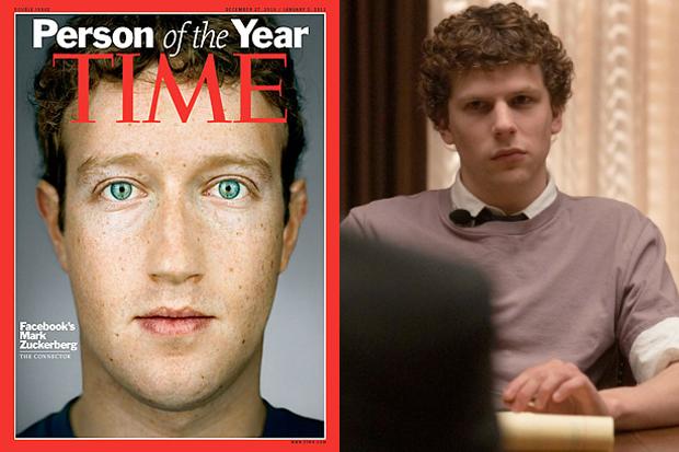 Mark Zuckerberg na capa da Time e o ator Jesse Eisenberg o interpretando em A Rede Social (Foto: Reprodução)