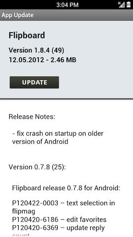 Tela de atualização do Flipboard em um aparelho Android (Foto: Reprodução)
