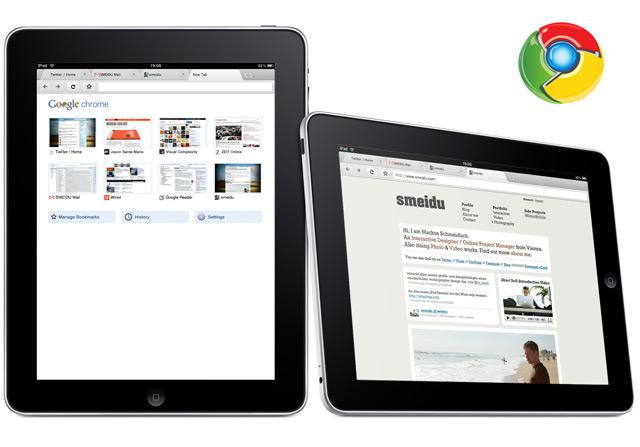 Google Chrome rodando em um iPad (Foto: Reprodução/Smeidu)
