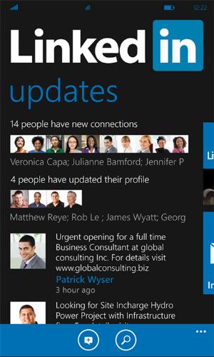 Usuários do Windows Phone já podem usar o LinkedIn no smartphone (Foto: Reprodução)