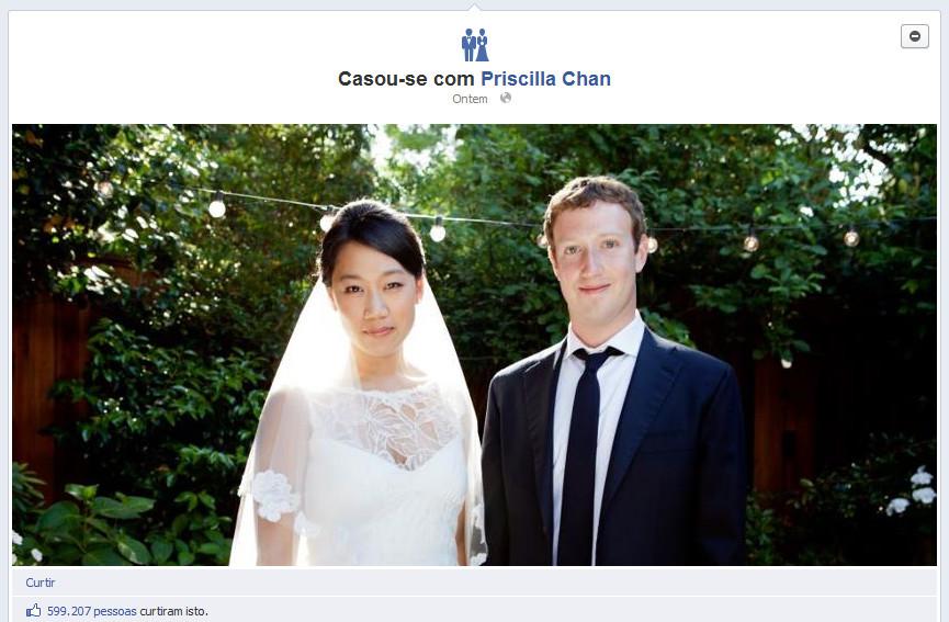 Mark Zuckerberg se casou com sua namorada: Priscilla Chan em uma cerimonia surpresa para menos de 100 convidados (Foto: Reprodução/Facebook)
