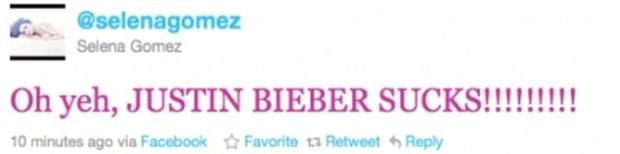 Mensagem contra Justin Bieber em conta hackeada do Facebook, replicada no Twitter de Selena Gomez (Foto: Reprodução)