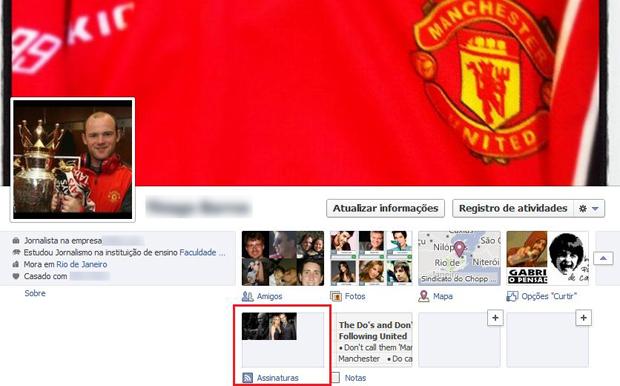 """Botão """"Assinaturas"""" do Facebook  (Foto: Aline Jesus/Reprodução)"""