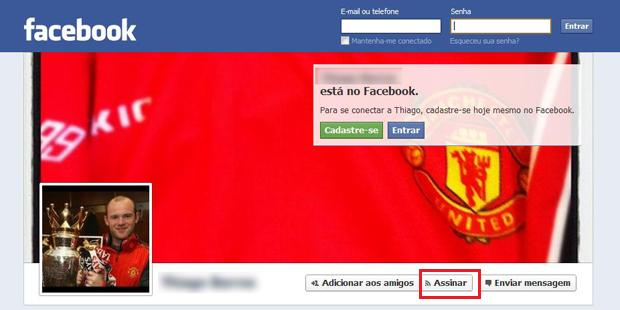 Perfil liberado para qualquer pessoa assinar seu perfil no Facebook (Foto: Aline Jesus/Reprodução)