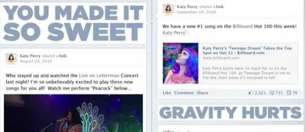 Clipe de Katy Perry tem a timeline do Facebook (Foto: Reprodução)