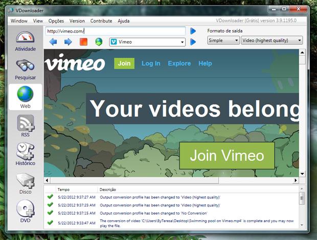 Navegando no Vimeo pelo VDownloader (Foto: Reprodução/Teresa Furtado)