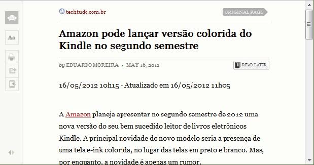 O aplicativo deixa a página transformada em ebook com um aspecto bastante limpo (Foto: Reprodução/Júlio Monteiro)