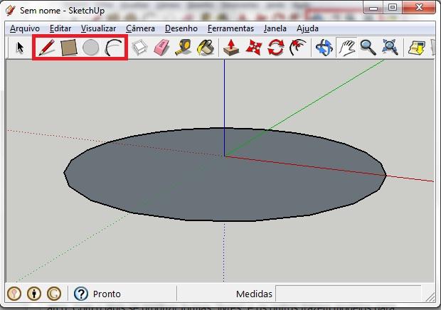 Use as quatro ferramentas de criação de formas para iniciar o projeto: o lápis, o retângulo, o círculo e o arco (Foto: Reprodução/Júlio Monteiro)