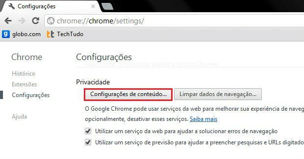 Configurações de conteúdo do Google Chrome (Foto: Reprodução/Ramon Cardoso)