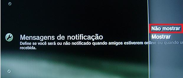 Não mostrar mensagens de notificação quando amigos estiverem online
