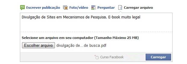 Carregando arquivos em grupos do Facebook (Foto: Reprodução)