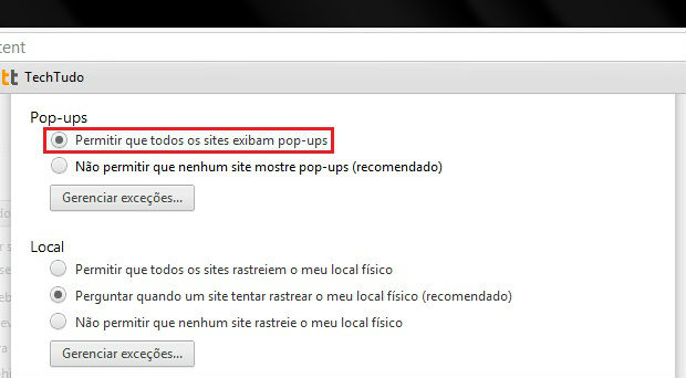 Permitindo a exibição de pop-ups no Google Chrome (Foto: Reprodução/Ramon Cardoso)