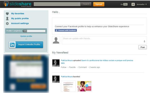 Interface do Slideshare (Foto: Reprodução)